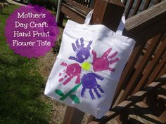 Mothers Day Craft: Hand Print Flower Tote via jmanandmillerbug.com