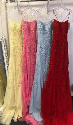 Spaghetti Straps Long Tulle Appliques Prom Dresses 2020 Spaghetti Straps Long Appliques Prom Dresses Custom Made Long Backless Evening Gowns, Fashion Long School Dance Dresses, Pagent Dresses for Girls. Baby Blue Prom Dresses, Prom Dresses For Teens, Sweet 16 Dresses, Trendy Dresses, Formal Dresses, Party Dresses, Elegant Dresses, Hoco Dresses, Homecoming Dresses