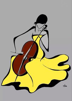 Woman with cello, in yellow dress_Nő csellóval, sárga ruhában_by Tatyana Markovtsev Fabric Painting, Watercolor Paintings, Drawing Sketches, Art Drawings, Drawing Faces, Minimalist Art, African Art, Rock Art, Line Art