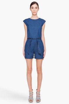 a.p.c. blue denim jumpsuit