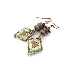 Green and Brown Ceramic Earrings  Ceramic by CinLynnBoutique