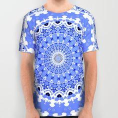 Royal Blue and White Mandala All Over Print Shirt