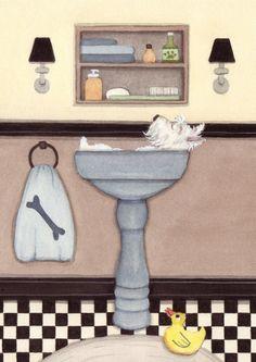 West highland terrier (westie) fills sink at bath time / Lynch signed folk art print. $12.99, via Etsy.