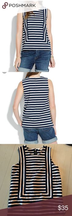 "Madewell striped tank cotton stretch 97% cotton Pit to pit 15"" Length 21"" in front, 22.5"" in back In EUC, no flaws stains or smells. Madewell Tops Tank Tops"
