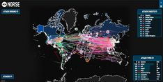 Norse blog showing cyber threats and cyberattacks on a map of the world. Real time.