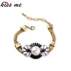 Online Shopping Indian Fashion Tide Simulated Pearl Flowers Female Vintage Bracelet Factory Wholesale