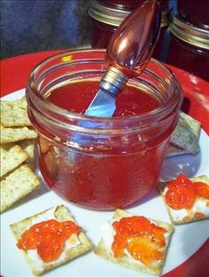 Red Pepper Jelly from Food.com: I came across this on the internet(don't remember which site). This is delicious served on top of a softened block of cream cheese and eaten with cracker. I will add some heat to it like a couple Jalapeno's you could add a habanero if you really like the heat!
