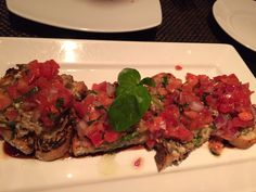 Roasted eggplant and pine nut bruschetta