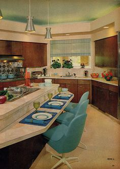 Midcentury Modern Decor & Style Ideas: Tips for Interior Design. Midcentury design is one trend that shows no sign of going away. Learn about midcentury modern decor and discover the best ways to incorporate the style Kitchen Retro, Vintage Kitchen, Retro Kitchens, Nice Kitchen, Mid Century Decor, Mid Century House, Mid Century Design, Home Design, Interior Design
