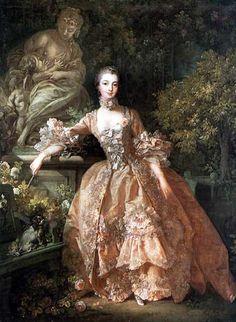 Madame Pompadour by Boucher. Also know as Jeanne Antoinette Poisson, Marquise de Pompadour. Official mistress of Louis XV of France.
