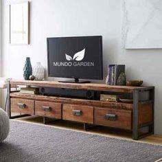 Mesa Tv (rack) Industrial Hierro Y Madera Gruesa Lo Último! - $ 19.500,00