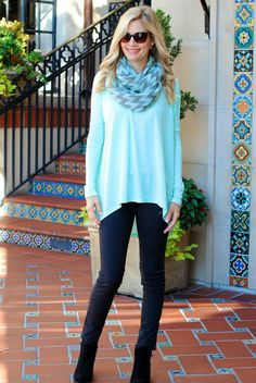 """BUY IT RIGHT HERE! Comment """"sold, your size and email"""" to get an invoice right to your inbox! Mandy Top in Mint Price: $26.00, Free Shipping Options: Small, Medium, Large Model is wearing small. Made from 95% rayon, 5% spandex. Fits oversized. Super comfy and easy fit! small - 58"""" bust, 26"""" long in front medium - 60"""" bust, 26.5"""" long in front large - 62"""" bust, 27"""" long in front"""