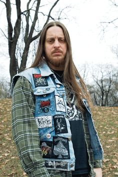 Defender of the Grim Rock 'N' Roll Flame - Veteran of the Psychic Wars Black Metal, Battle Jacket, Metal Fashion, Poses, Metalhead, Death Metal, Attractive Men, Rock Style, Metal Bands