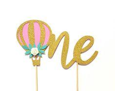 1 pc one hot air balloon flower rose floral Gold Glitter Cake Topper Toddler boy girl first Birthday smash cake