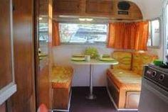 THE INSIDE OF A CAMPER IN THE 70s....orange, yellow & greens...sooo 70s!!