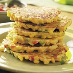 Calico Corn Cakes Recipe ~ easily made gluten-free!  ~ I have made these several times & just the other day made it GF (just GF all-purpose flour & corn meal). I love to serve them with my crockpot chili!  slp