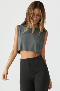 Relaxed fit cropped muscle tank with a crew neckline. This modal tank is ultra comfortable, softer than soft, and breathable. Cute Casual Outfits, Girly Outfits, Dance Outfits, Tank Top Outfits, Cute Outfits With Leggings, Muscle Tanks, Athletic Outfits, Looks Cool, Everyday Outfits
