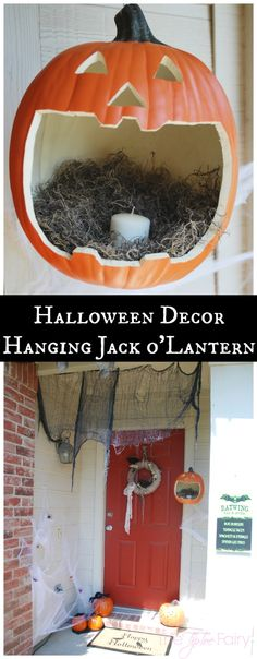 Make a Hanging Jack o'lantern - perfect for Halloween night! #TrickorSweet #ad | The TipToe Fairy