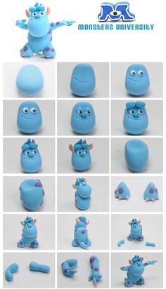 Personajes Monster University con un poco de #fimo o #sculpey, muy divertido y fácil