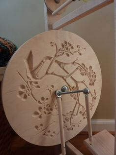 Modern Single Treadle Spinning Wheel with Cherry Blossom design - Solid Maple - Spectacular Stella Free Extra Bobbin