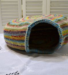Crochet Cat Cave Nest Pet Bed Large Multi Color by LittlestSister