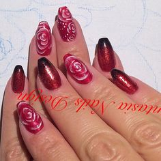 Red and black gradient with some glitter and roses:)  #nailtech, #nailart, #naildesign, #gradient, #glitter, #rosedesign