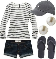 My preppy summer style...hat, pearl earrings, flip flops, and most importantly...stripes!!!