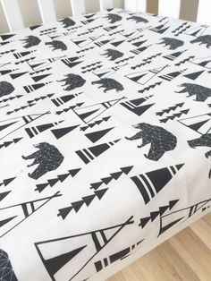 Bears and teepees Fitted Cot Sheet Crib Sheet by ElskeLittleStyle