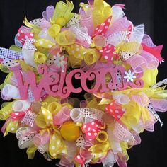 Hey, I found this really awesome Etsy listing at https://www.etsy.com/listing/228270940/lemonade-deco-mesh-wreath-summer-wreath