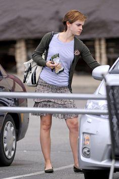 Emma Watson Lookbook: Emma Watson wearing Isabel Marant Mini Skirt (1 of 12). Emma Watson teamed her LV cardigan with a flirty floral mini skirt by Isabel Marant.