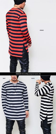 Mens Unbalance Loose Long Stripe Round Tee By Guylook