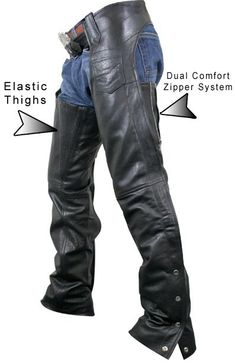 Xelement Women's Advanced Dual Comfort Elastic Thigh Leather Chaps - LeatherUp.com #harleydavidsonchaps