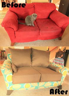 DIY Sofa Reupholstery! How To Tear Apart That Sofa With Attached Cushions!!  Reupholster