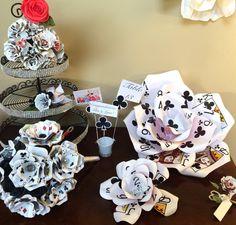 "Giant Playing Card Flower, Vegas Wedding Decor, Casino Party Decorations, Poker Centerpiece Set, 3 Piece Set, 16"" & 9"" Poker Flower, Bucket by ThePaintedPetaler on Etsy https://www.etsy.com/listing/271598317/giant-playing-card-flower-vegas-wedding"