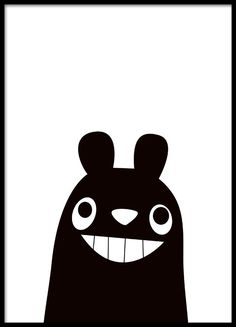 Süßes Schwarz-Weiß-Poster für das Kinderzimmer, für kleine Kinder geeignet.