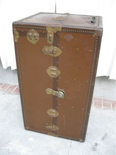 Antique Wardrobe Steamer Trunk - Manufacturer: Rogers Trunk Co - Early 1900's