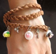 Cute donut Charm Bracelet Hand-made. Made to order   Yummy !<3