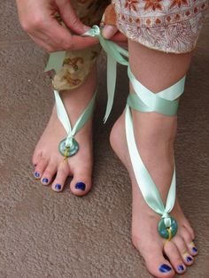 easy barefoot sandals.  Just ribbon and a bead!