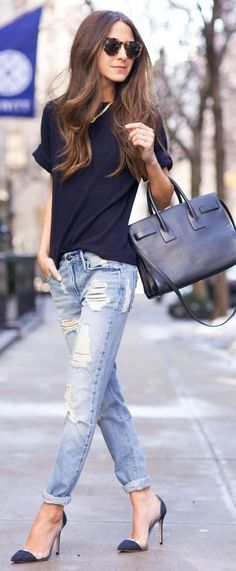 #spring #street #style #inspiration | Ripped Denim, Black And Navy Casual Spring Outfit Idea | Something Navy
