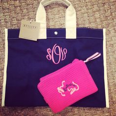 Tote bag and shoe bag for a budding ballerina from Monograms off Madison.