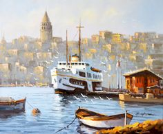 Landscape Wallpaper, Landscape Paintings, Rio, Istanbul City, My Canvas, Art Oil, Animals And Pets, Boat, Watercolor