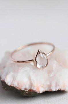 White topaz rose gold ring #RoseGoldJewellery