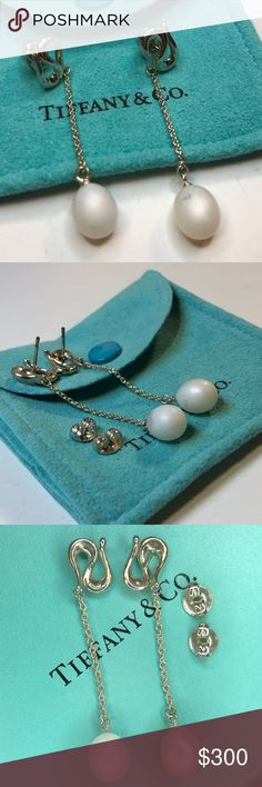 2ee325e0c Silver Elsa Peretti Open Wave Pearl Drop Earrings Tiffany & Co. Sterling  Silver Elsa