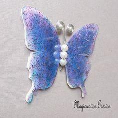 Papillon 3D décoration soie et transparent violet cm Transparent, Violet, Decoration, 3 D, Brooch, Support, Dimensions, Boutique, Jewelry