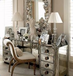 mirrored furniture glamour | this mirrored vanity is sophisticated and glamorous it looks fit