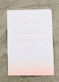 Pink ombre wedding invitation | photos by Ashley Kelemen | 100 Layer Cake