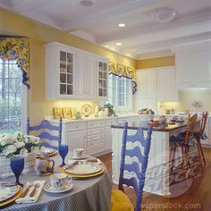 Yellow Kitchen White Cabinets pictures of kitchens with yellow walls, white cabinets and blue