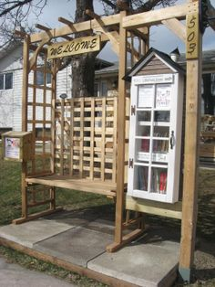 Little Free Library, North Kildonan, Winnipeg MB Canada Like the bench and garden effect Little Free Library Plans, Little Free Libraries, Little Library, Mini Library, Library Books, Girl Scout Silver Award, Street Library, Library Inspiration, Library Ideas