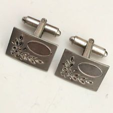 Vintage sterling silver rectangular cufflinks with oval space on fron... Lot 335
