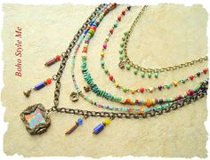 Bohemian Necklace Boho Colorful Gypsy Hippie Picture frame